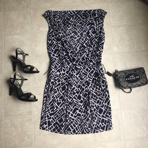 Black & White Patterned Mini Dress with Pockets